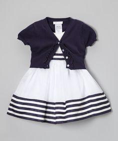 White & Navy Stripe Dress & Cardigan - Toddler & Girls #zulily #zulilyfinds
