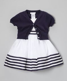 Look at this #zulilyfind! White & Navy Stripe Dress & Cardigan - Toddler & Girls #zulilyfinds