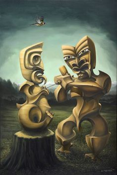 Tiki figure carves a son, sumbol of new life, painting from Liam Barr New Zealand Art, Nz Art, Maori Art, Kiwiana, Life Is Like, Printmaking, Amazing Art, Contemporary Art, Witch