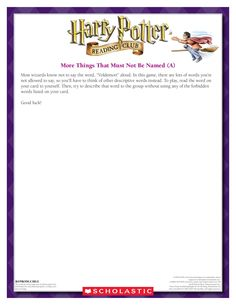 October MORE THINGS THAT MUST NOT BE NAMED: Get your group to guess Harry Potter-related clues! Download by clicking image above! For more activities visit www.scholastic.com/hpreadingclub #HarryPotter #HPread