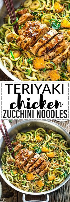 This recipe for One Pot Teriyaki Chicken Zoodles {Zucchini Noodles} makes the perfect easy gluten-free (with paleo option) lower carb weeknight meal! Best of all, it's so much better and healthier than takeout - only 30 minutes to make with just one pan t