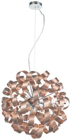 Diese Deckenleuchte von AMBIENTE ist ein moderner Hingucker in Ihrem Zuhause. Sie besteht aus gebürstetem sowie verchromtem Aluminium und besticht durch ihre extravagante Optik. Die Metallteile sind schwungvoll gebogen und als Kugel mit einem Durchmesser von ca. 60 cm angeordnet. Dabei kombiniert die Hängeleuchte ansprechend Chromfarben mit Kupferfarben. Der Lichtspender kommt mit 12 Eco-Halogenleuchtmitteln, die für ein warmweißes Licht in Ihrer Wohnung sorgen. Die Decke