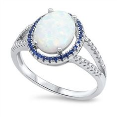 Sterling Silver CZ Sim Diamond Sim Sapphire Lab White Opal Oval Center Halo Ring 13MM