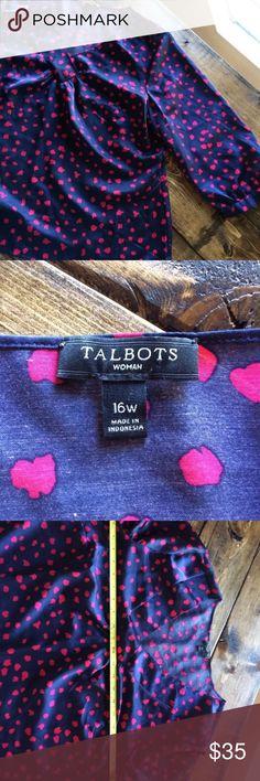 Talbots Heart Navy Blouse Shirt Top 16 W Gorgeous EUC Talbots Heart Blouse. Size 16 W. Talbots Tops Blouses