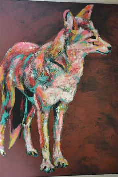 "Limited Edition (5) Giclee Canvas Print of Original by M Peterson, Coyote, 2007, 24"" X 18"""