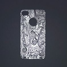 Dreamwaves© on iPhone 4 case. Hand-painted using fine point metallic silver Sharpie®