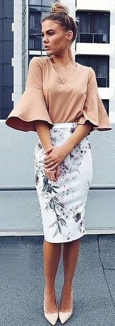 #summer #latest #trends |  Peach Bell Sleeve Top + Floral Midi Skirt