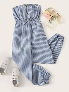 To find out about the Girls Button Front Striped Bandeau Jumpsuit at SHEIN, part of our latest Girls Jumpsuits ready to shop online today! Cute Girl Outfits, Cute Summer Outfits, Girly Outfits, Cute Casual Outfits, Pretty Outfits, Stylish Outfits, Girls Fashion Clothes, Teen Fashion Outfits, Preteen Girls Fashion
