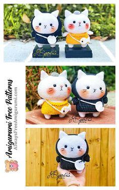 Crochet Doll Tutorial, Crochet Cat Pattern, Crochet Amigurumi Free Patterns, Crochet Toys, Crochet Case, Cute Crochet, Crochet Summer, Beginner Crochet Projects, Christmas Knitting Patterns