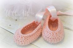 Baby Ballet Slippers/Crochet Ballerina Shoes~Baby Gift/Photo Prop