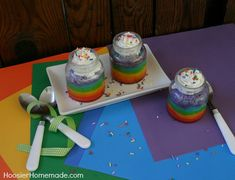 Rainbow Cupcakes in a Jar for a Baby Shower