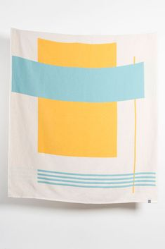 Zigzagzurich Modernista Artist Cotton Blankets / Throws By Michele Rondelli & Sophie Probst- Yellow Turquoise Jacquard Loom, Yellow Turquoise, Cotton Blankets, Space Furniture, Artist At Work, Linen Fabric, Tapestry, Inspiration, Design