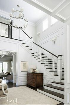 Best two story house remodel stairs 50 Ideas – Decorating Foyer Foyer Staircase, Entryway Stairs, Staircase Remodel, House Stairs, Staircase Design, Staircase Molding, Stairway Wainscoting, Staircases, Foyer Design