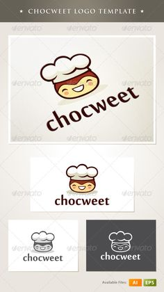 Chocweet Logo Template: Food Logo Design Template by almayraz. Bakery Logo, Logo Restaurant, Food Logo Design, Logo Food, Brochure Template, Logo Templates, Word Template Design, Logo Cookies, Animal Logo