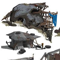 A full shanty town section made by mashing the callouts. Environmental Architecture, Concept Architecture, Environmental Art, Environment Painting, Environment Concept Art, Environment Design, Fantasy Art Landscapes, Fantasy Landscape, Buildings Artwork