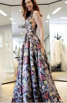 A-Line V-Neck Sweep Train Multi Color Printed Flower Sleeveless Backless Prom Dresses uk - No Interest Credit Cards - Ideas of No Interest Credit Cards - A-Line V-Neck Sweep Train Multi Color Printed Backless Prom Dresses uk Wikiprom Backless Prom Dresses, A Line Prom Dresses, Beautiful Prom Dresses, Cheap Prom Dresses, Trendy Dresses, Homecoming Dresses, Cute Dresses, Formal Dresses, Dress Prom