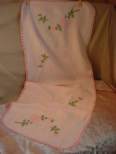 Vtg Antique Embroidered Dresser Scarf Runner Pink Roses 13 by 37 inches