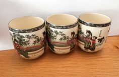 Vintage Japanese Porcelain Figural  Sake Cups Set of Three