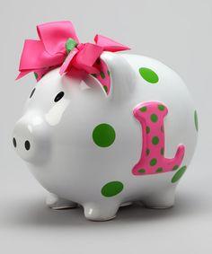 Pink 'L' Initial Piggy Bank    $8.99