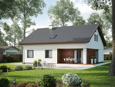 Wizualizacja SD Fano D CE Modern Brick House, Modern Family House, Rural House, My House, Garden Bbq Ideas, Compact House, Concept Home, Small House Design, Home Projects