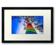Yarn Bombed Tree, Swanston Street, Melbourne Framed Print