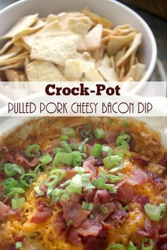 Crock-Pot Pulled Pork Cheesy Bacon Dip [via CrockPotLadies.com] - Be prepared to have your socks knocked off with this fantastic Crock-Pot Pulled Pork Cheesy Bacon Dip! Barbecued pulled pork is combined with cream cheese, cheddar cheese and bacon and is transformed into an amazing hearty dip perfect for your next party!