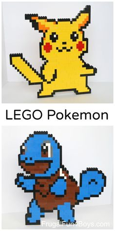 Here are some fun Pokemon LEGO projects that kids will love building! Build a Pikachu, Squirtle, and pokeball. We found that looking an examples of pixel art makes it much easier to build characters like this. They are pretty challenging to build in f Pokemon Lego, Pokemon Craft, Pokemon Party, Pokemon 100, Pokemon Fusion, Lego Technic, Lego Design, Pikachu, Mosaico Lego