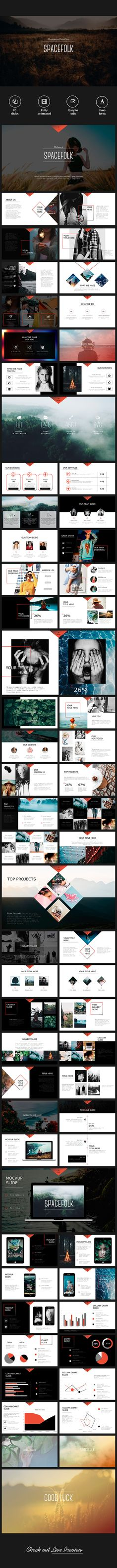Clean & Professional Spacefolk Presentation  #fashion powerpoint #infographics • Download ➝ https://graphicriver.net/item/clean-professional-spacefolk-presentation/18074008?ref=pxcr