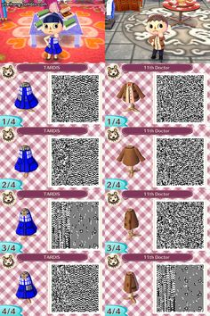 A Collection of Cute QR Codes: Photo Doctor Who (animal crossing) Qr Code Animal Crossing, Animal Crossing Qr Codes Clothes, Fantasy Character, Character Design, Tardis Dress, Wii, Motif Acnl, Ac New Leaf, Happy Home Designer