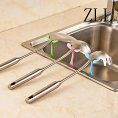 Creative Necessary Sprouts Modeling Double Sucker Kitchen Spoon Rack