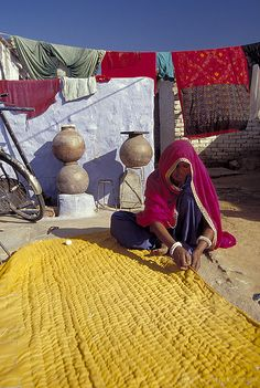 Making a quilt, India
