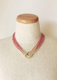 Hey, I found this really awesome Etsy listing at https://www.etsy.com/listing/217612148/marsala-and-gold-necklace-seed-bead