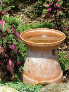 clay pot art | Love this simple version of the bird bath. I need one in each flower ...