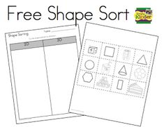 Sorting Freebie Shape Sorting - Is it or (Freebie from Simply Kinder.)Shape Sorting - Is it or (Freebie from Simply Kinder. Math Stations, Math Centers, Math Resources, Math Activities, Educational Activities, Math Games, Teaching Kindergarten, 3d Shapes Kindergarten, Teaching Ideas