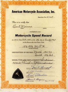"""Burt Munro's """"The World's Fastest Indian"""" Certificate. Why it is so special? Because this is unbreakable speed record for 1000 cc motorcycle since 26 August 1967!"""