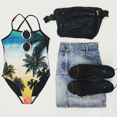 Look of the Day... Hunter Gatherer vintage swimsuit - R135 Prism sunglasses - R175 (30% off) WGACA vintage moonbag - R150 WGACA vintage denim skirt - R260 Pereira vintage sandals (8) - R160