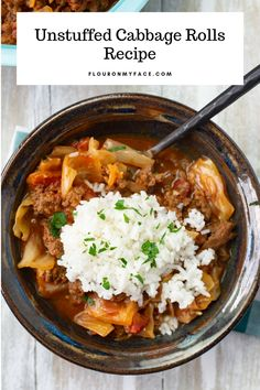 Crock Pot Unstuffed Cabbage Rolls recipe with rice Crockpot Unstuffed Cabbage Rolls, Crockpot Cabbage Recipes, Crockpot Dishes, Healthy Crockpot Recipes, Clean Recipes, Beef Recipes, Crockpot Ideas, Beef Cabbage Soup, Pasta Bake