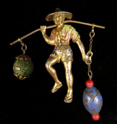 Rice Weiner Brooch 1941 Vintage Water Bearer Gold Tone Chinese Cloisonne | eBay