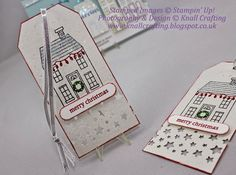 Knall Crafting! How cute are these little tags - Holiday Home stamp set and Confetti Stars punch with the Tag Topper punch - Stampin' up!