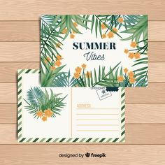 Download Flat Tropical Summer Holiday Postcard for free