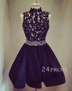 black lace short prom dress