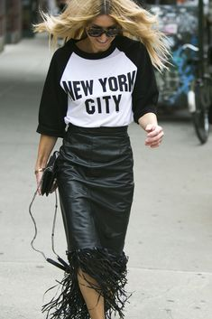 Leather skirt  New York Fashion Week street style. [Photo by Ryan Kibler]