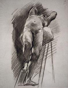 John Singer Sargent - Male Nude Leaning Back on a Ladder