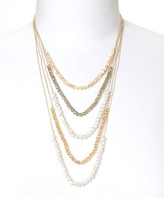 PANNEE JEWELRY White Pearl & Brown Tiered Beaded Necklace by PANNEE JEWELRY #zulily #zulilyfinds