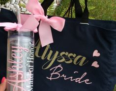 Tote bag bride and tumbler personalized tumbler by madewithlovebyV