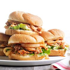 Pulled Roast Chicken Sandwiches At your next family get-together, serve pulled roasted chicken dressed in homemade barbecue sauce.