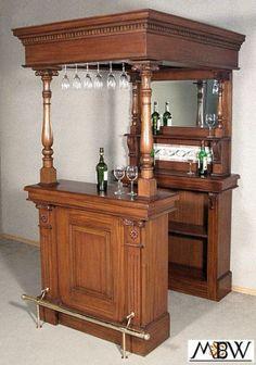 4Ft-Solid-Mahogany-Canopy-Home-Pub-Bar-W-Tiles-amp-Brass-Rails-so