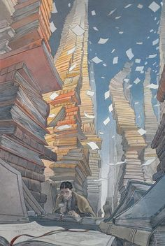 The sufferings of the young Kafka, François Schuiten - Books Art And Illustration, Book Illustrations, Ligne Claire, Art Graphique, Comic Book Artists, Art Plastique, Amazing Art, Just In Case, Comic Art