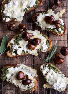 Buttered Mushroom, Sage, Pesto and Goat Cheese Sourdough Toast