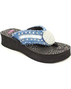 Blazin Roxx Western Shoes Womens Morgan Flip Flop Black Blue 4112401
